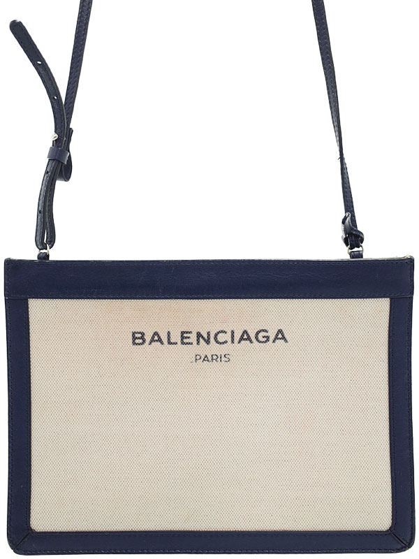 【BALENCIAGA】バレンシアガ『ネイビー ポシェット』339937 レディース ショルダーバッグ 1週間保証【中古】b01b/h08B