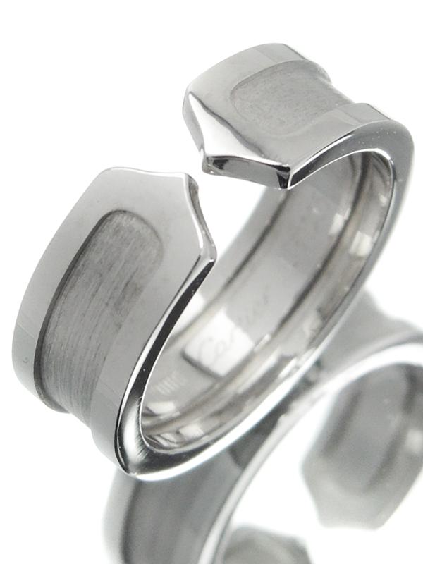 【Cartier】カルティエ『K18WG ロゴ ドゥーブルC C2リング』10号 1週間保証【中古】b02j/h03A