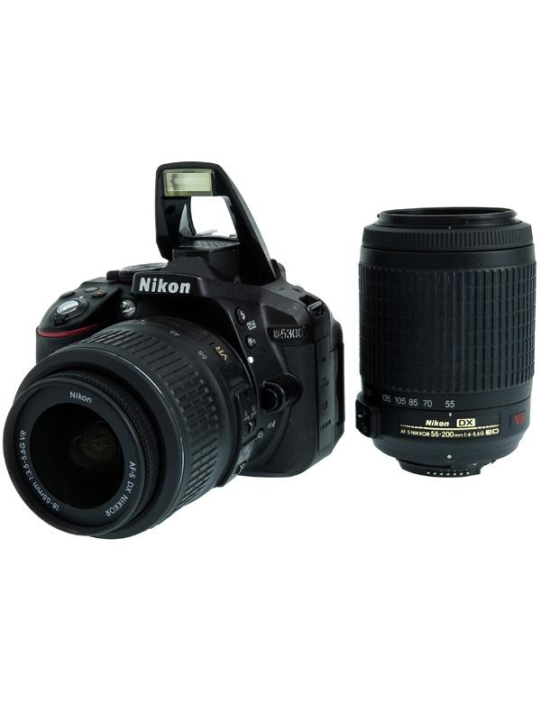 【Nikon】ニコン『D5300』ブラック 2416万画素 18-55/55-200mm リモートコード付属 デジタル一眼レフカメラ 1週間保証【中古】b02e/h21B