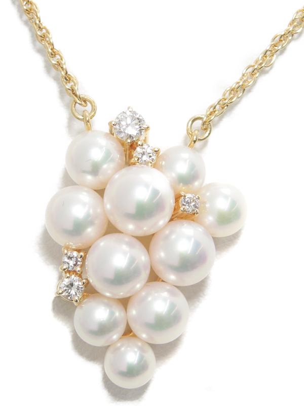 【POLA】【仕上済】ポーラ『K18YGネックレス パール ダイヤモンド0.23ct』1週間保証【中古】b06j/h17A