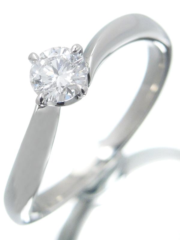 【4℃】【鑑定書】【仕上済】ヨンドシー『PT950リング 1Pダイヤモンド0.254ct/D/VS-2/EXCELLENT 3EX』8.5号 1週間保証【中古】b06j/h17SA