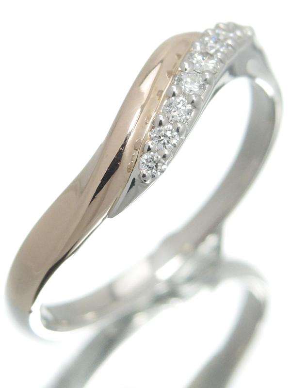 【I-PRIMO】【AURORA】【コンビタイプ】【ウェーブ】アイプリモ『PT950/K18PG オーロラ リング ダイヤモンド0.13ct』14号 1週間保証【中古】b06j/h18A