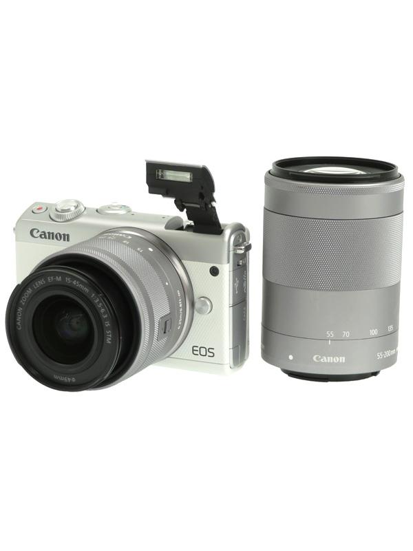 【Canon】キヤノン『EOS M100 ダブルズームキット』EOSM100WH-WZOOMKIT ホワイト 2420万画素 SDXC ミラーレス一眼カメラ 1週間保証【中古】b05e/h10AB