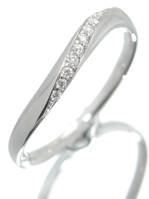 【4℃】【仕上済】【ウェーブライン】ヨンドシー『PT950リング 11Pダイヤモンド』12号 1週間保証【中古】b05j/h10SA