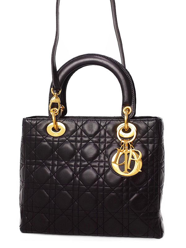 【Christian Dior】クリスチャンディオール『レディディオール(M)』レディース 2WAYバッグ 1週間保証【中古】b01b/h22AB
