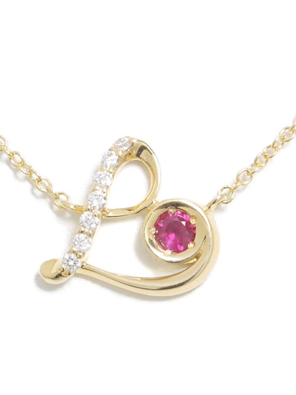【Star Jewelry】スタージュエリー『K18YGネックレス ルビー ダイヤモンド0.02ct ハートモチーフ』1週間保証【中古】b06j/h17A