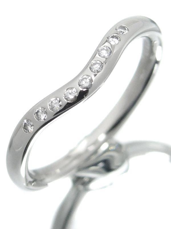 【TIFFANY&Co.】【仕上済】ティファニー『PT950 エルサ・ペレッティ カーブドバンド リング 9Pダイヤモンド』7号 1週間保証【中古】b01j/h02SA