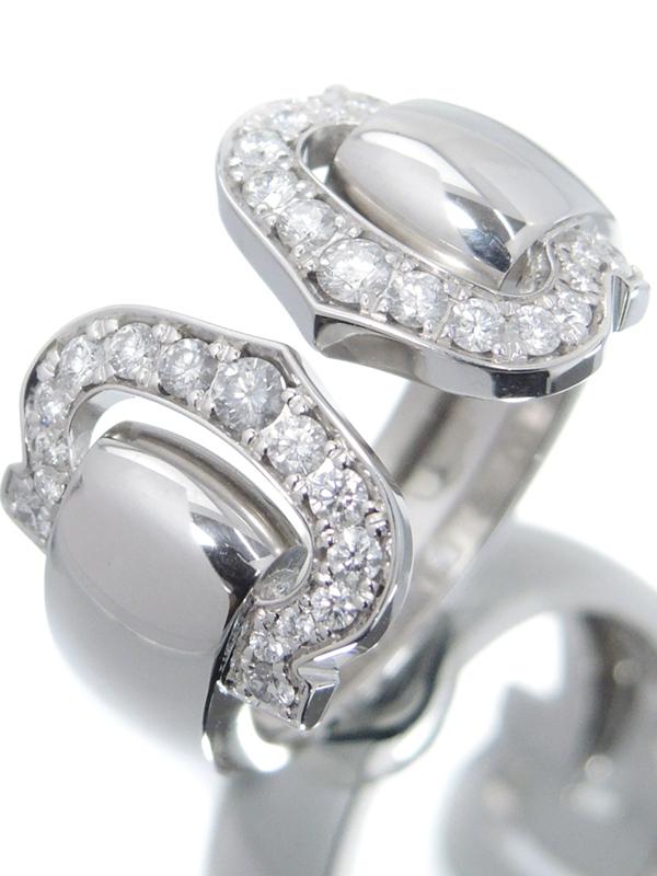 【Cartier】カルティエ『K18WG 2C モチーフ ブークルセ ダイヤモンド リング』10.5号 1週間保証【中古】b06j/h17A
