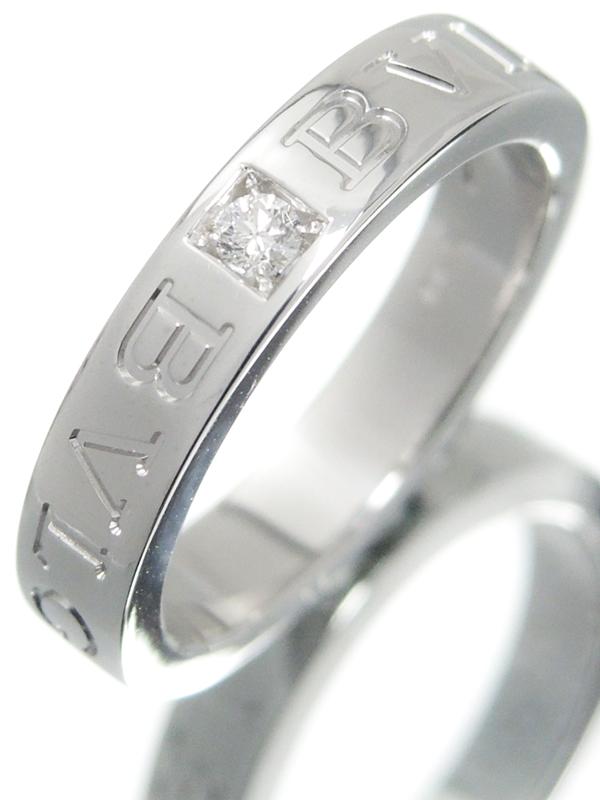 【BVLGARI】【仕上済】ブルガリ『K18WG ブルガリブルガリ ダブルロゴリング 1Pダイヤモンド』11.5号 1週間保証【中古】b05j/h12SA