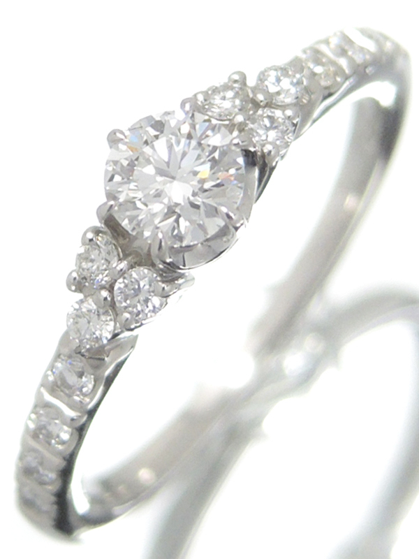 【Star Jewelry】スタージュエリー『PT950リング ダイヤモンド0.201ct 0.12ct』5号 1週間保証【中古】b06j/h18A