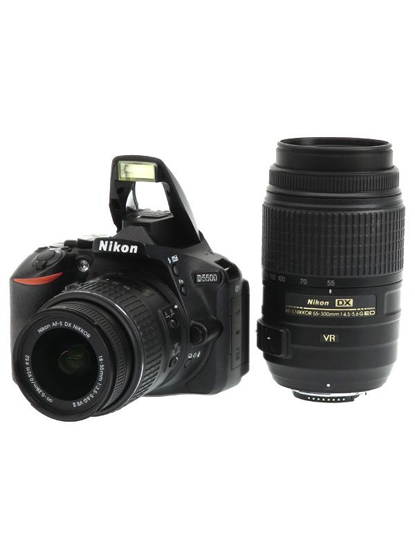 【Nikon】ニコン『D5500ダブルズームキット』ブラック 2416万画素 DXフォーマット デジタル一眼レフカメラ 1週間保証【中古】b03e/h07AB