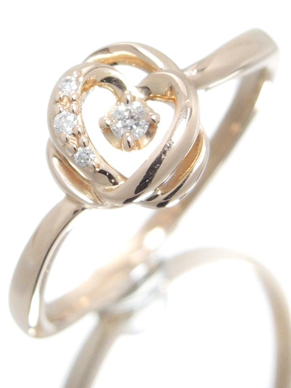 【4℃】【ローズ】【薔薇】【仕上済】ヨンドシー『K18PGリング ダイヤモンド バラモチーフ』10号 1週間保証【中古】b06j/h18SA