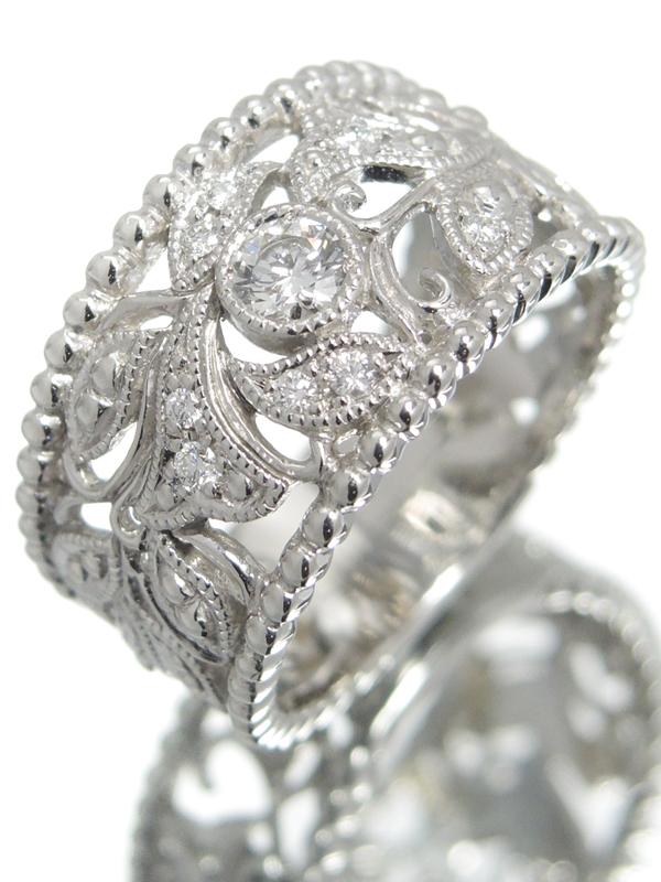 【QUEEN】【HCO】【仕上済】クイーン『PT950リング ダイヤモンド0.23ct フラワーデザイン』11号 1週間保証【中古】b06j/h18SA