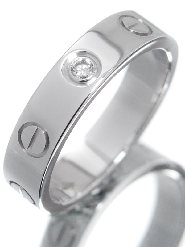 【Cartier】【仕上済】カルティエ『K18WG ミニラブリング 1Pダイヤモンド』6号 1週間保証【中古】b01j/h21SA