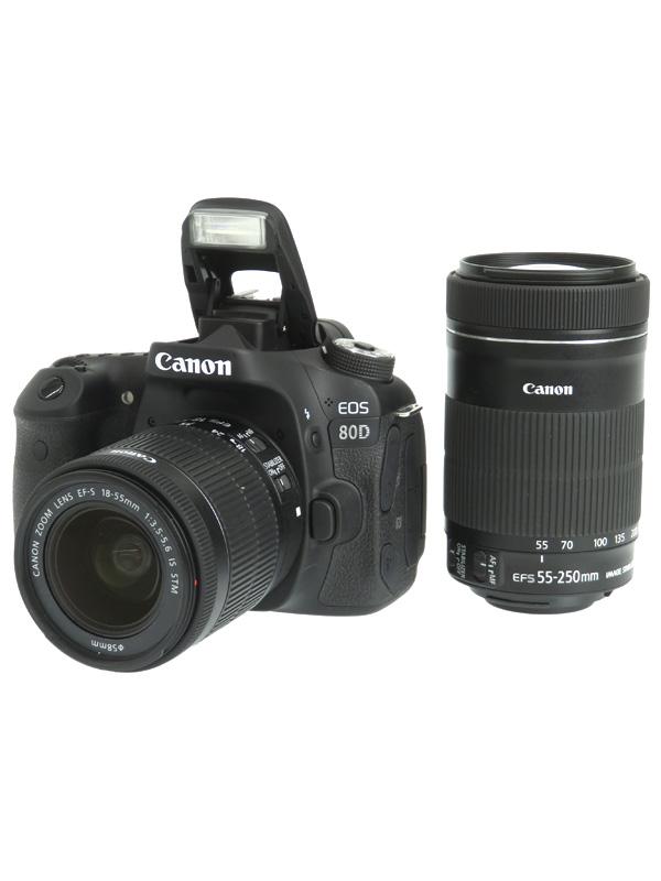 【Canon】キヤノン『EOS 80D ダブルズームキット』EOS80D-WZOOMKIT 2420万画素 18-55/55-250mm SDXC デジタル一眼レフカメラ【中古】b02e/h04AB