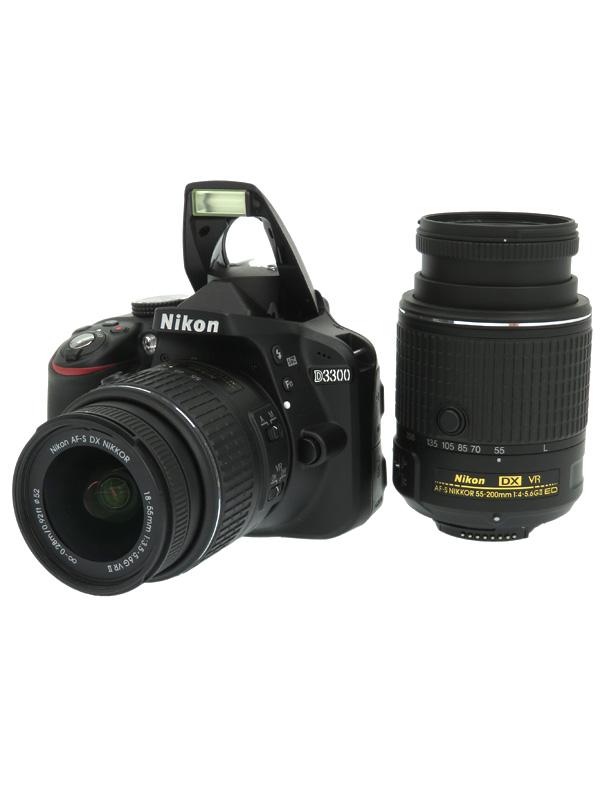 【Nikon】ニコン『D3300ダブルズームキット2』ブラック 2416万画素 DXフォーマット デジタル一眼レフカメラ 1週間保証【中古】b02e/h21AB