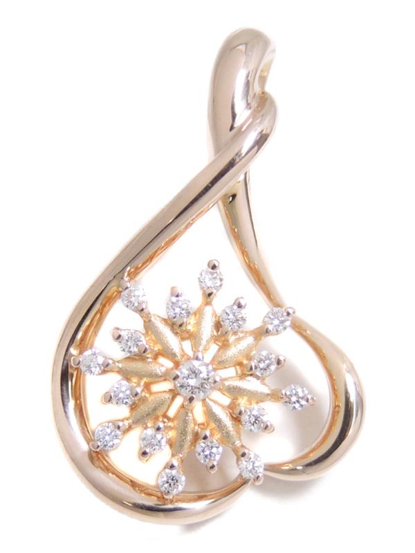 【星の砂】【仕上済】ホシノスナ『K18PGペンダントトップ ダイヤモンド0.17ct ハートモチーフ』1週間保証【中古】b06j/h17SA
