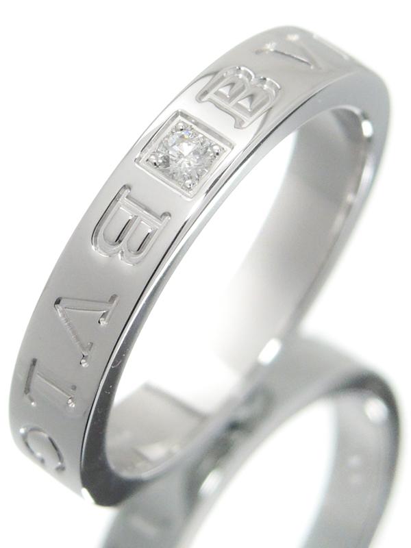 【BVLGARI】【仕上済】ブルガリ『K18WG ブルガリブルガリ ダブルロゴリング 1Pダイヤモンド』16号 1週間保証【中古】b01j/h08SA