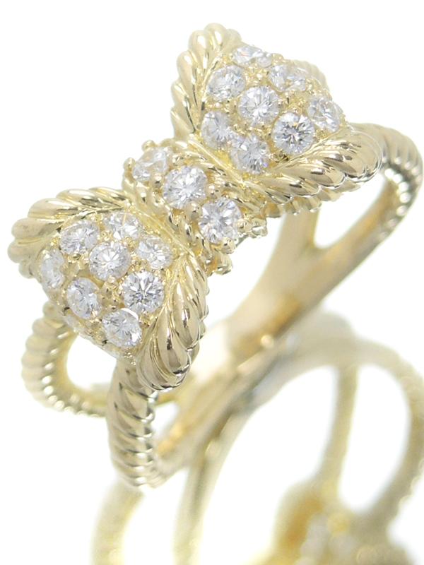 【星の砂】【仕上済】【パヴェダイヤ】ホシノスナ『K18YGリング ダイヤモンド0.60ct リボンモチーフ』12号 1週間保証【中古】b06j/h17SA