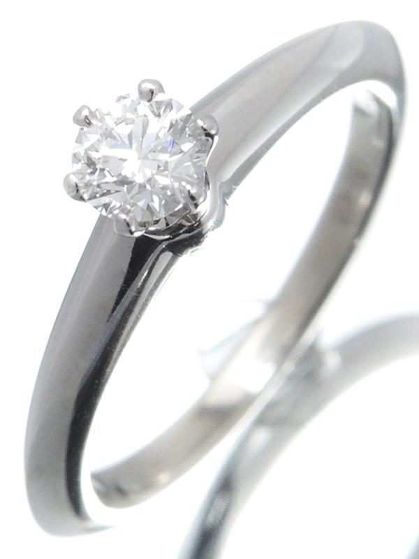 【TIFFANY&Co.】【鑑定書】【仕上済】ティファニー『PT950 ソリティア リング 1Pダイヤモンド0.23ct/D/VVS-1/EXCELLENT』8号 1週間保証【中古】b05j/h12SA