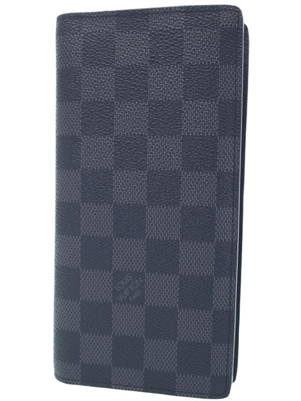 【LOUIS VUITTON】ルイヴィトン『ダミエ グラフィット ポルトフォイユ ブラザ』N62665 メンズ 二つ折り長財布 1週間保証【中古】b06b/h10AB