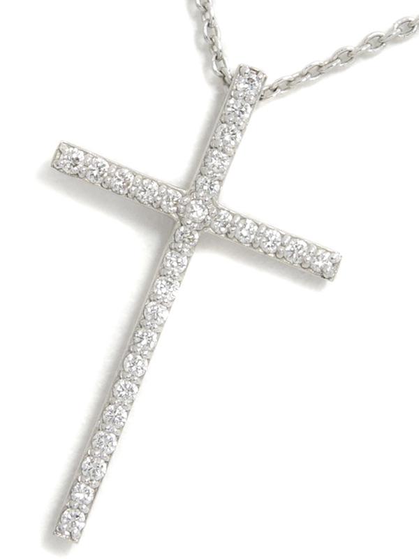 【Ponte Vecchio】ポンテヴェキオ『K18WGネックレス ダイヤモンド0.13ct クロスモチーフ』1週間保証【中古】b03j/h20AB