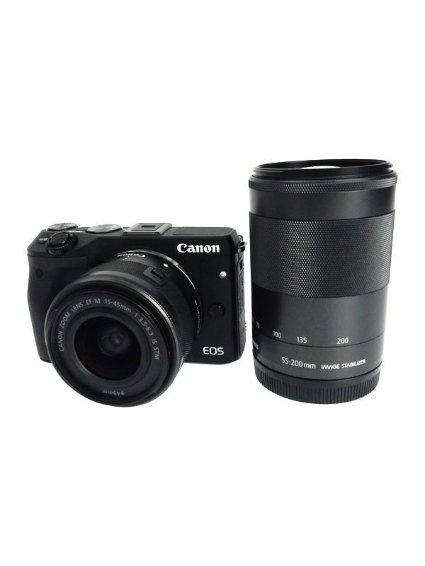 【Canon】キヤノン『EOS M3 ダブルズームキット2』EOSM3BK-WZOOMKIT2 ブラック ミラーレス一眼カメラ 1週間保証【中古】b02e/h21AB