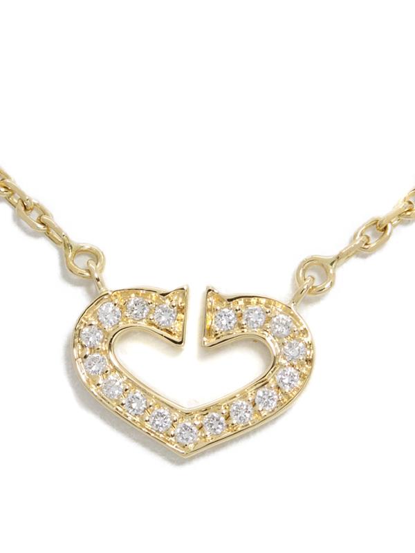 【Cartier】【メーカー仕上済】カルティエ『K18YG Cハート オブ カルティエ ダイヤモンド ネックレス』1週間保証【中古】b05j/h10AB