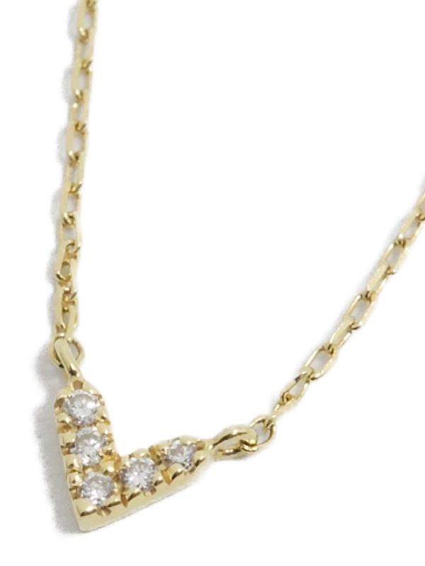 【AHKAH】【ahkah blanc】アーカー『K18YG アーカーブラン ローラハート ネックレス ダイヤ』1週間保証【中古】b03j/h06A