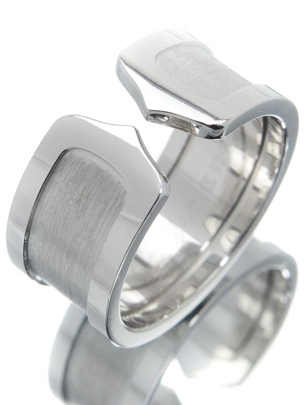 【Cartier 】カルティエ『K18WG ロゴ ドゥーブルC C2リング LM』17号 1週間保証【中古】b02j/h09A