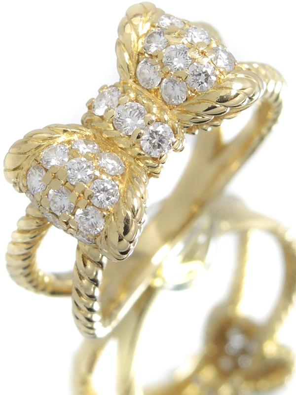 【星の砂】【パヴェダイヤ】ホシノスナ『K18YGリング ダイヤモンド0.60ct リボンモチーフ』17号 1週間保証【中古】b03j/h22A