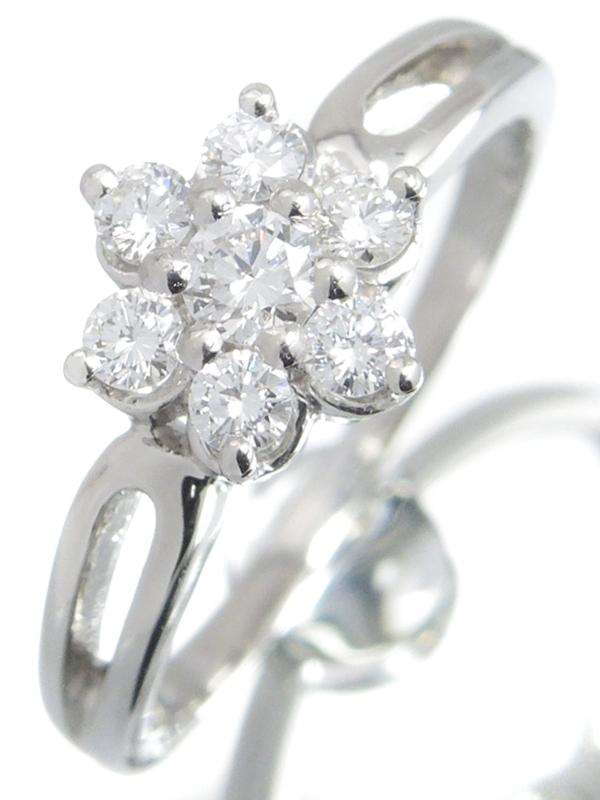 【MIKIMOTO】【仕上済】ミキモト『PT950リング ダイヤモンド0.34ct フラワーモチーフ』11号 1週間保証【中古】b03j/h20SA