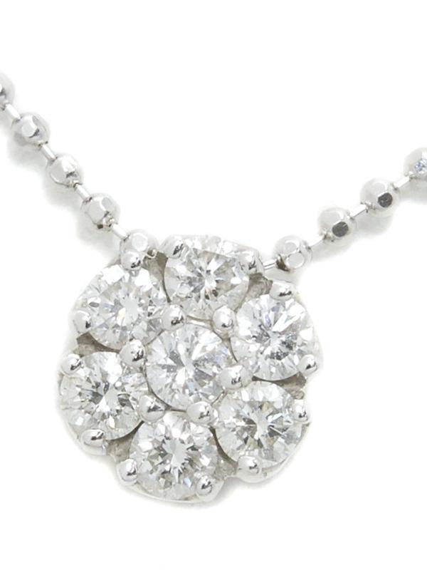 【Ponte Vecchio】ポンテヴェキオ『K18WGネックレス ダイヤモンド0.26ct フラワーモチーフ』1週間保証【中古】b03j/h16A