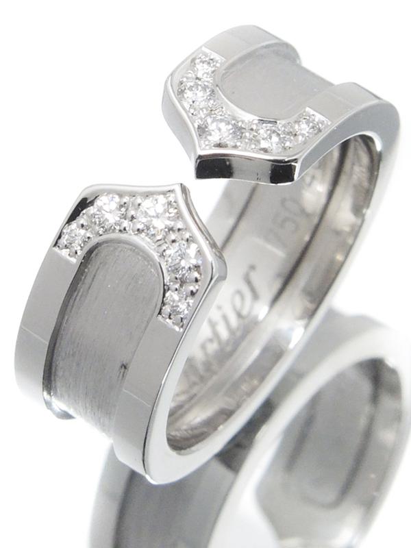 【Cartier】カルティエ『K18WG ロゴ ドゥーブルC C2リング 10Pダイヤモンド』6号 1週間保証【中古】b02j/h19A