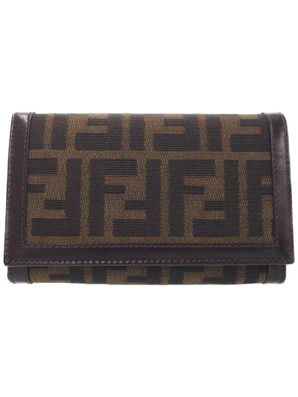 【FENDI】フェンディ『ズッカ柄 二つ折り短財布』31052 レディース 1週間保証【中古】b03b/h20A