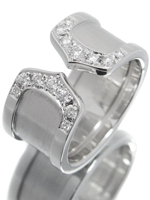 【Cartier】カルティエ『K18WG ロゴ ドゥーブルC C2リング 14Pダイヤモンド LM』8.5号 1週間保証【中古】b01j/h08A