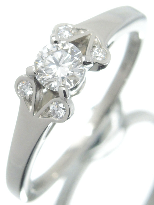 【Cartier】【BALLERINE】【鑑定書】【仕上済】カルティエ『PT950 バレリーナ ソリテール リング ダイヤモンド0.23ct/F/VVS2/EXCELLENT』10号 1週間保証【中古】b03j/h12SA