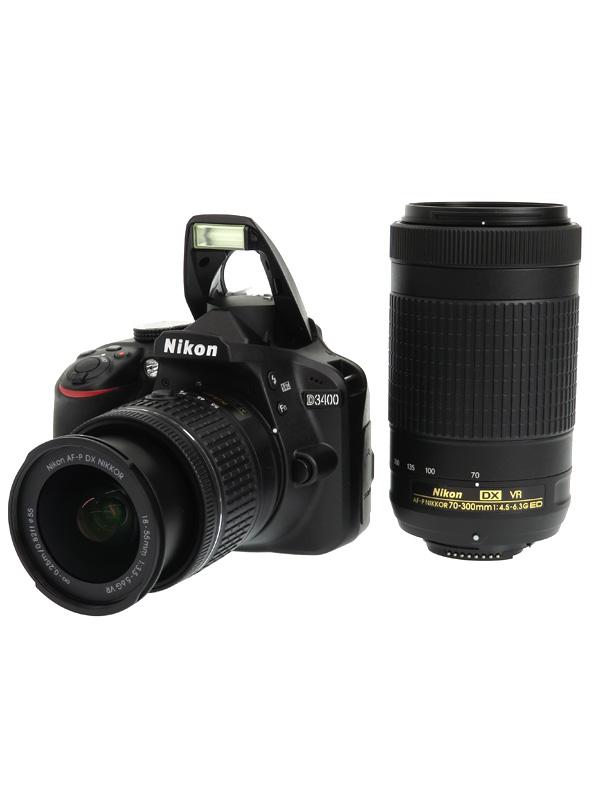 【Nikon】ニコン『D3400ダブルズームキット』ブラック 2416万画素 DXフォーマット デジタル一眼レフカメラ 1週間保証【中古】b03e/h08AB
