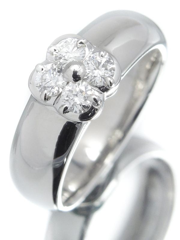 【MIKIMOTO】ミキモト『PT950リング 4Pダイヤモンド0.29ct フラワーモチーフ』11号 1週間保証【中古】b01j/h08A
