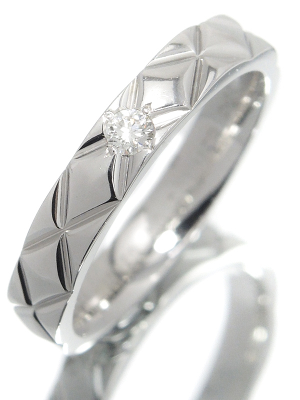【CHANEL】シャネル『PT950 マトラッセ リング 1Pダイヤモンド ラージモデル』9.5号 1週間保証【中古】b02j/h03A