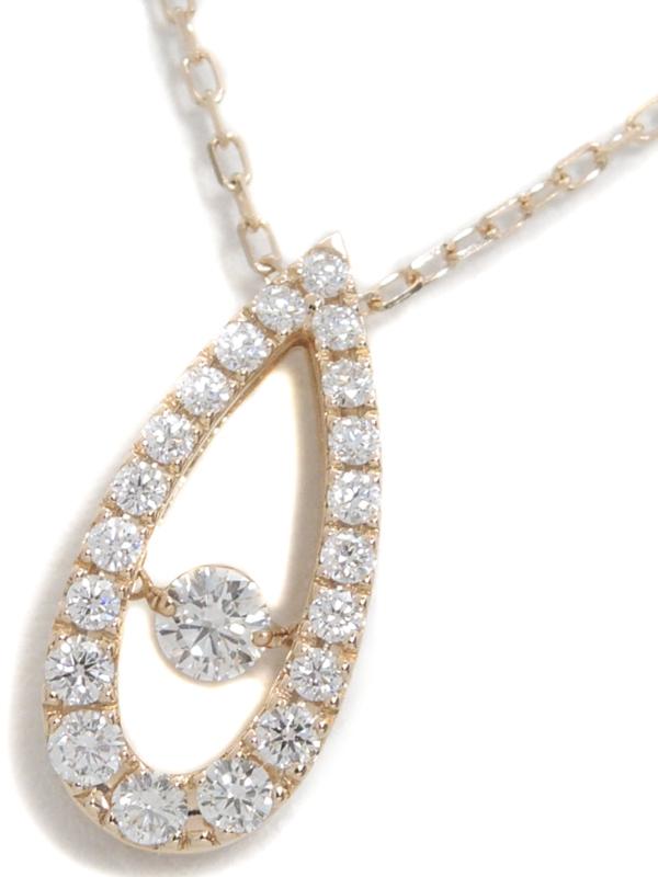 【MIKIMOTO】【ダンシングストーン】ミキモト『K18PG ネックレス ダイヤモンド0.53ct ドロップモチーフ』1週間保証【中古】b01j/h08A
