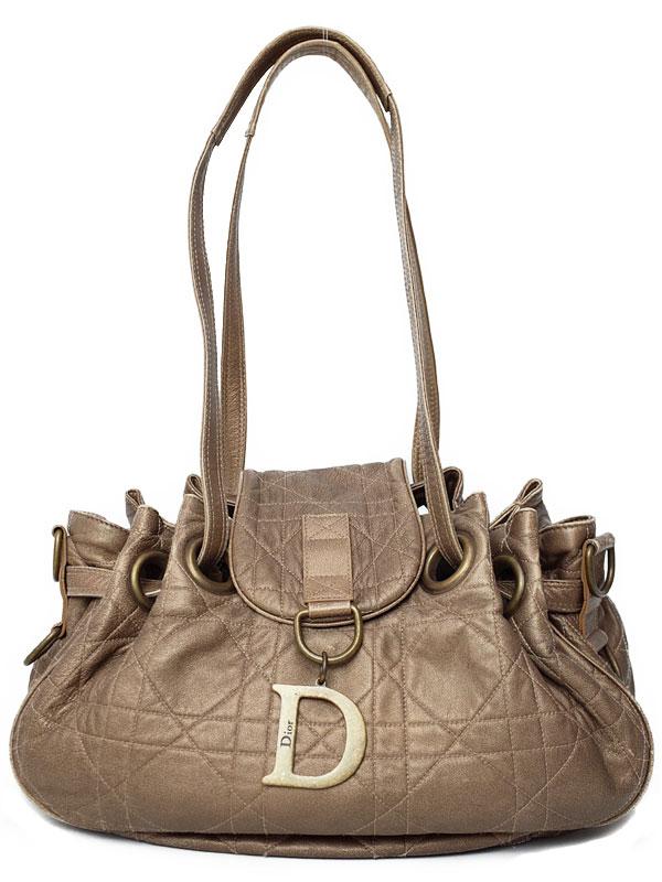 【Christian Dior】クリスチャンディオール『カナージュ 巾着ショルダーバッグ』レディース 1週間保証【中古】b03b/h07B