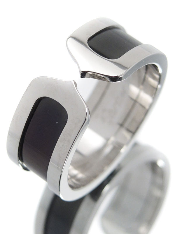 【Cartier】カルティエ『K18WG ロゴ ドゥーブルC C2リング』16号 1週間保証【中古】b05j/h10A