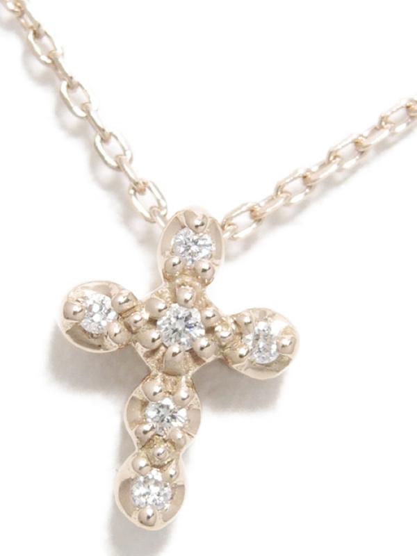 【Star Jewelry】スタージュエリー『K10PGネックレス ダイヤモンド0.02ct クロスモチーフ』1週間保証【中古】b06j/h17A