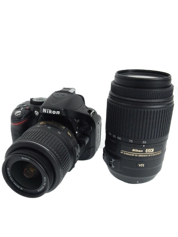 【Nikon】ニコン『D5200 ダブルズームキット』ブラック 手ぶれ補正 2410万画素 DXフォーマット SDXC デジタル一眼レフカメラ 1週間保証【中古】b02e/h19AB