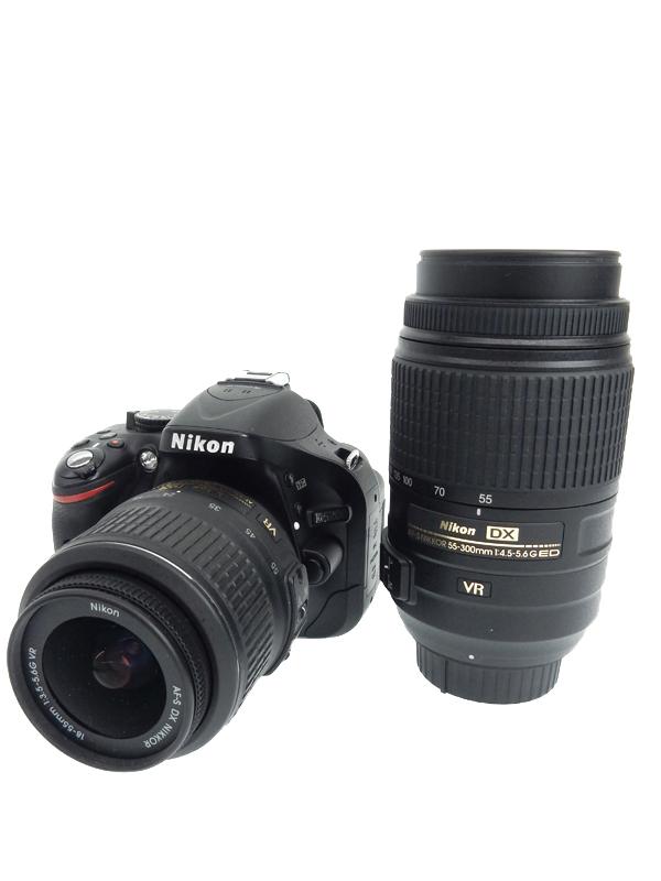 【Nikon】ニコン『D5200 ダブルズームキット』ブラック 手ぶれ補正 2410万画素 DXフォーマット SDXC デジタル一眼レフカメラ 1週間保証【中古】b02e/h02AB