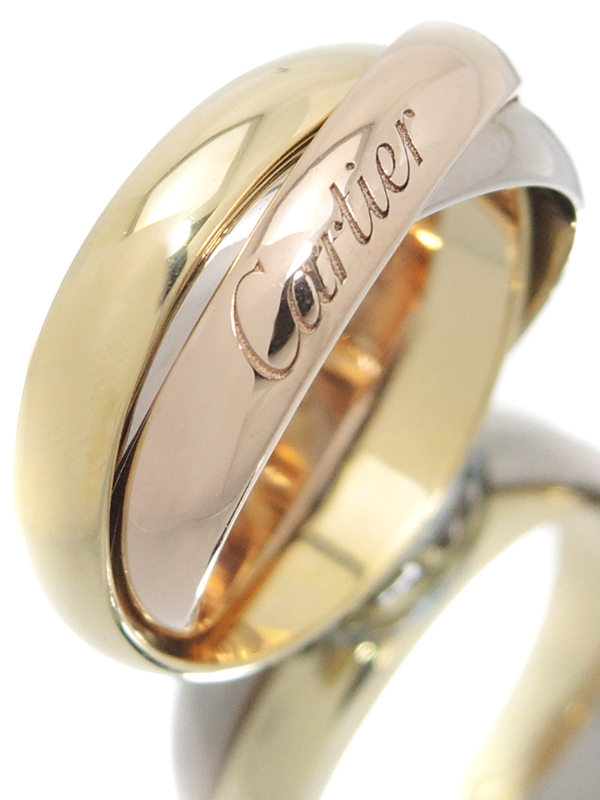 【Cartier】【スリーカラーゴールド】カルティエ『K18YG/K18PG/K18WG トリニティ リング』7号 1週間保証【中古】b02j/h07A