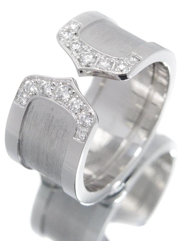 【Cartier 】カルティエ『K18WG ロゴ ドゥーブルC C2リング LM 14Pダイヤモンド』11号 1週間保証【中古】b02j/h03A