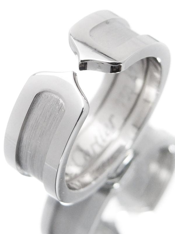 【Cartier】カルティエ『K18WG ロゴ ドゥーブルC C2リング』7号 1週間保証【中古】b02j/h07A