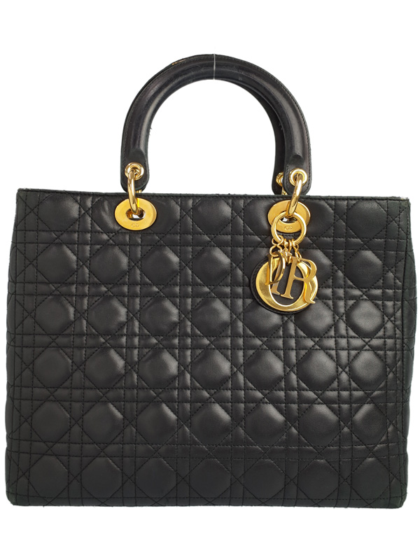 【Christian Dior】【カナージュ】クリスチャンディオール『レディディオール(L)』レディース ハンドバッグ 1週間保証【中古】b01b/h08B